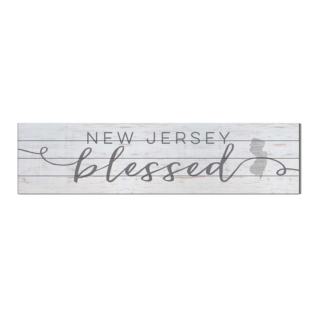 40x10 Whitewash Slat Sign State Blessed New Jersey