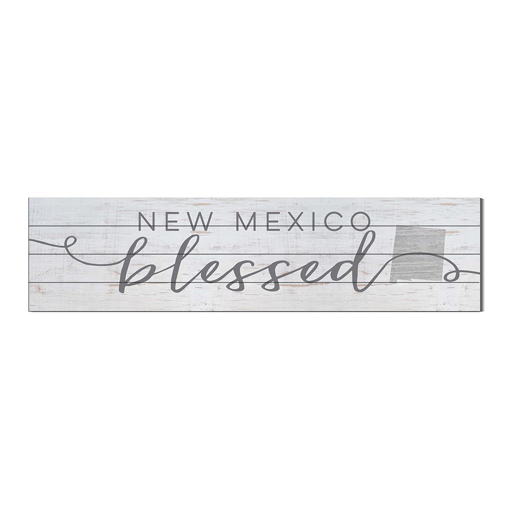 40x10 Whitewash Slat Sign State Blessed New Mexico