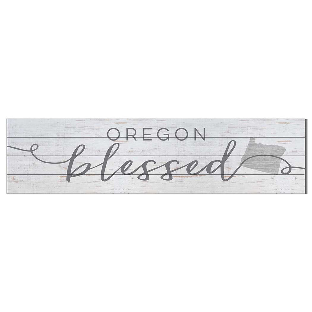 40x10 Whitewash Slat Sign State Blessed Oregon