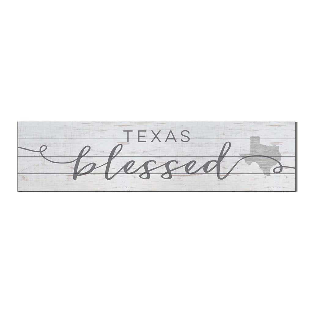 40x10 Whitewash Slat Sign State Blessed Texas
