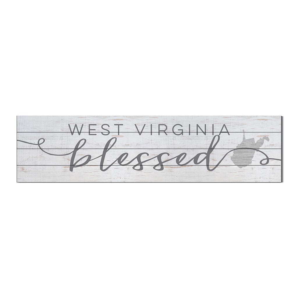 40x10 Whitewash Slat Sign State Blessed West Virginia