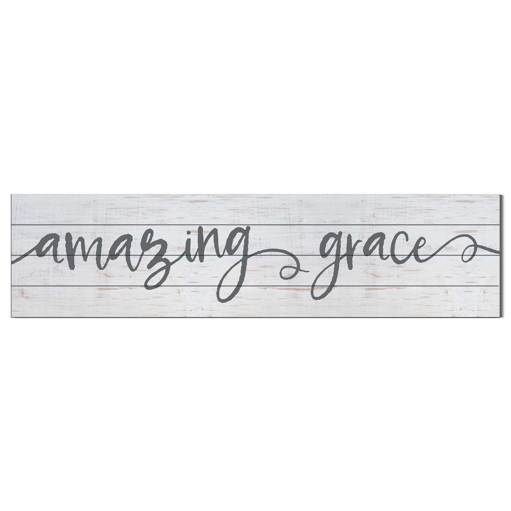 40x10 Whitewash Slat Sign Amazing Grace
