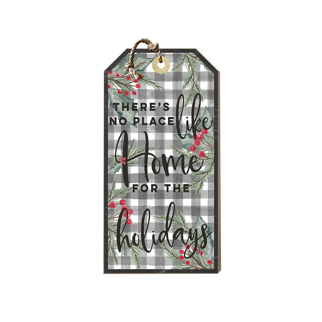 Small Hanging Tag Home for the Holidays Black Buffalo Check