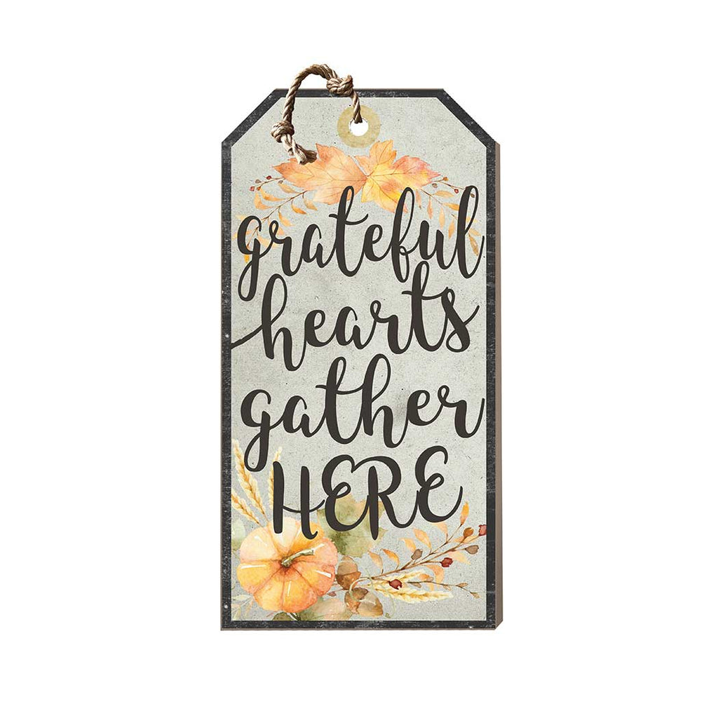 Small Hanging Tag Grateful Hearts Gather Pumpkins