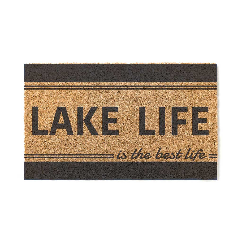 18x30 Coir Doormat Lake Life is Best Stripe