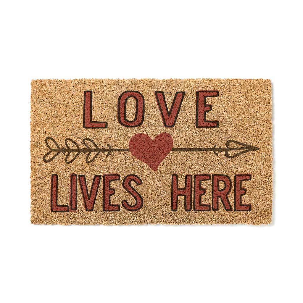 18x30 Coir Doormat Love Lives Here Heart