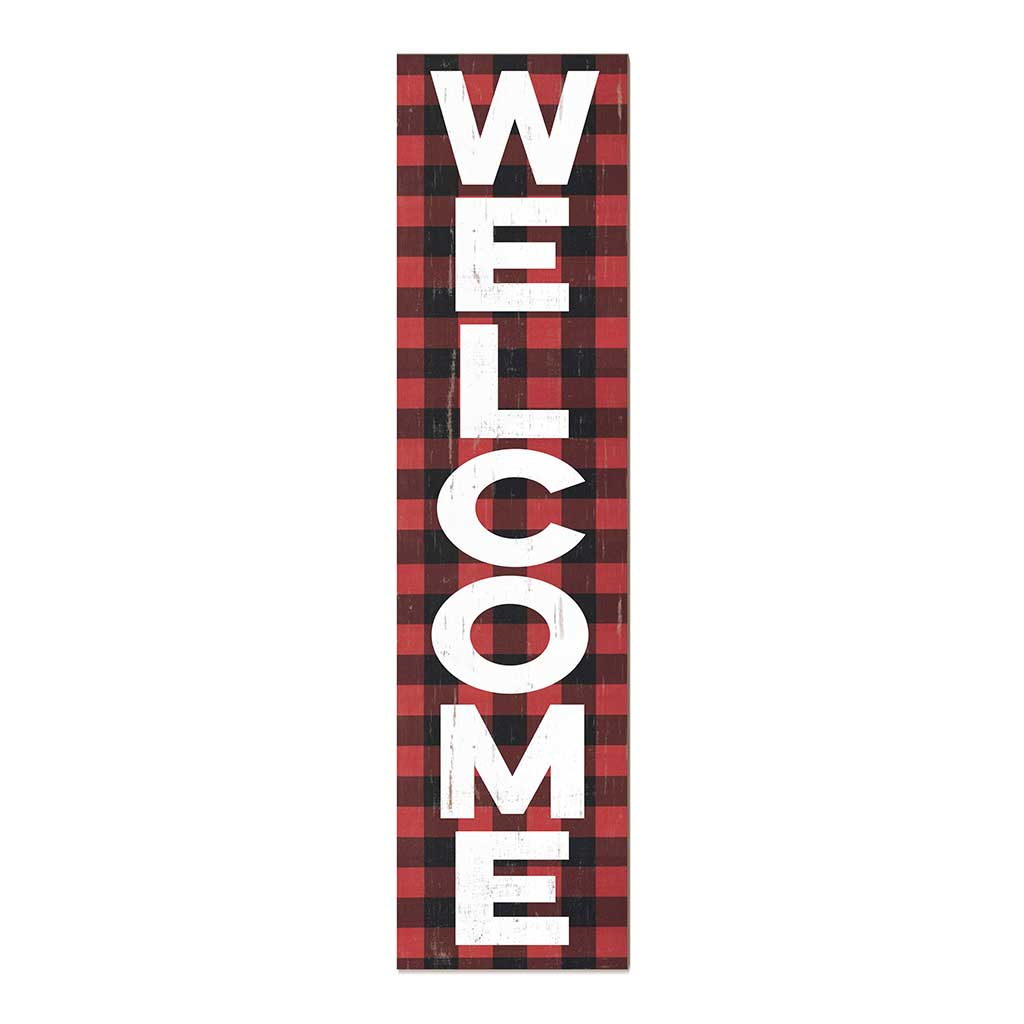 12x48 Welcome Red Plaid Leaner Sign