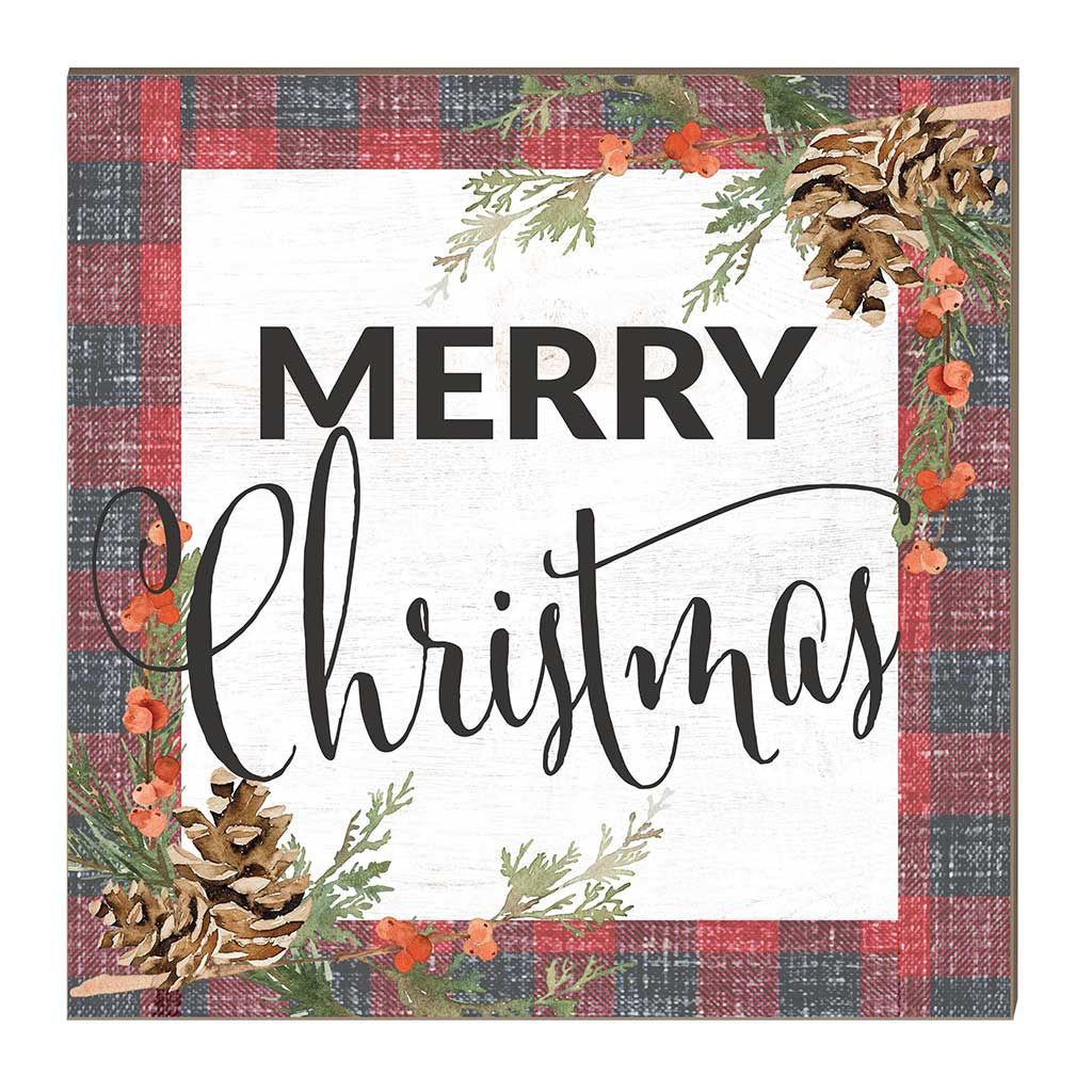 10x10 Merry Christmas Red Plaid Pinecones Sign