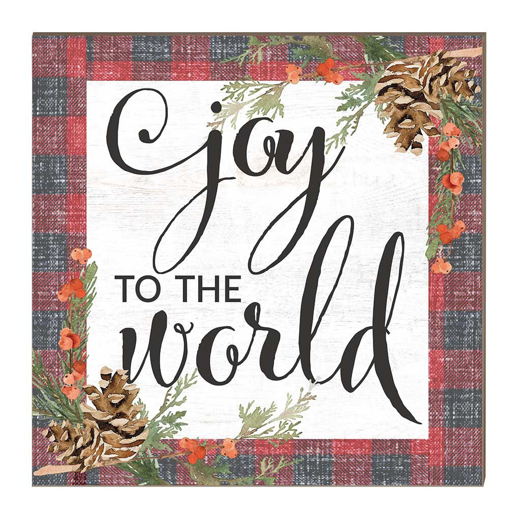 10x10 Joy to the World Red Plaid Pinecones Sign