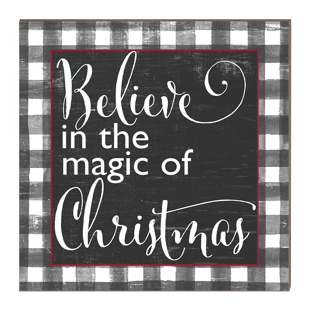 10x10 Belive in Magic of Christmas Black Buffalo Check Sign