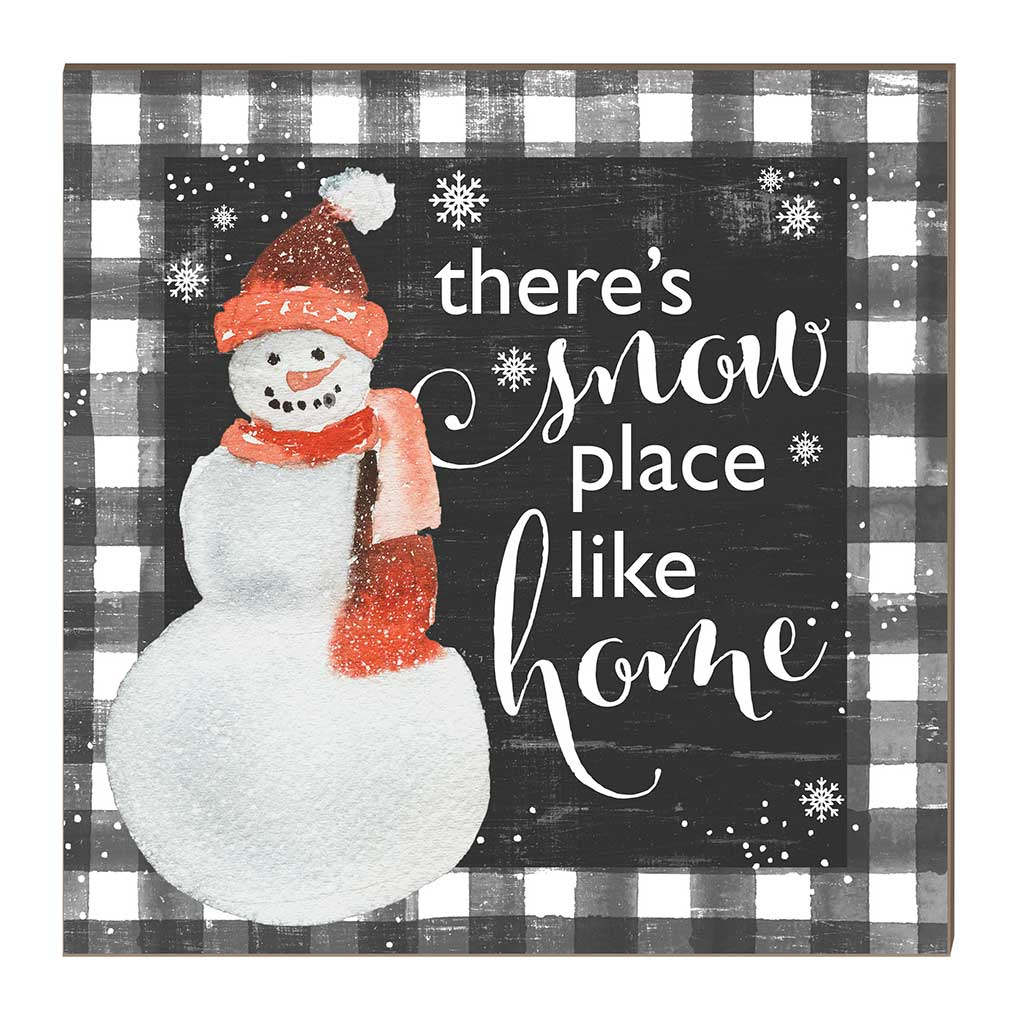 10x10 Snowplace Like Home Snowman Black Buffalo Check Sign