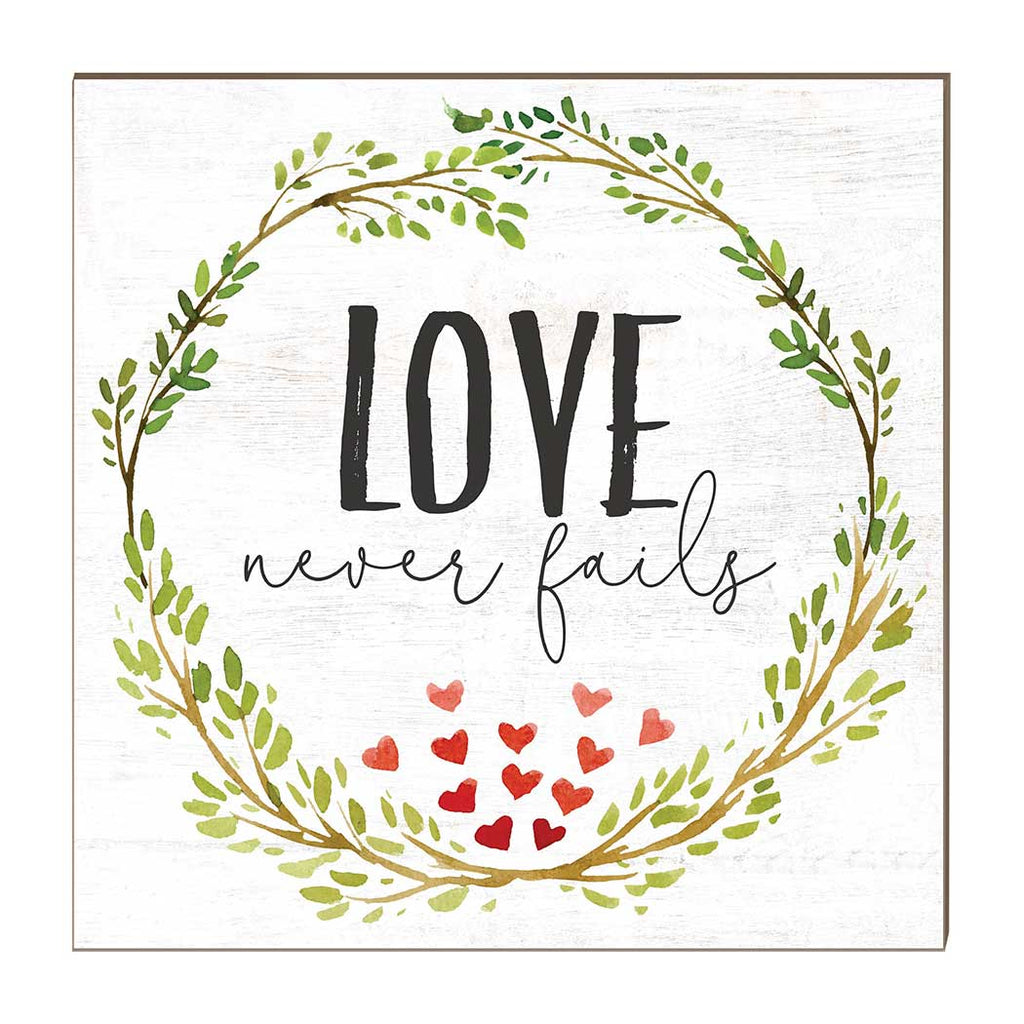 10x10 Love Never Fails Heart Wreath Sign