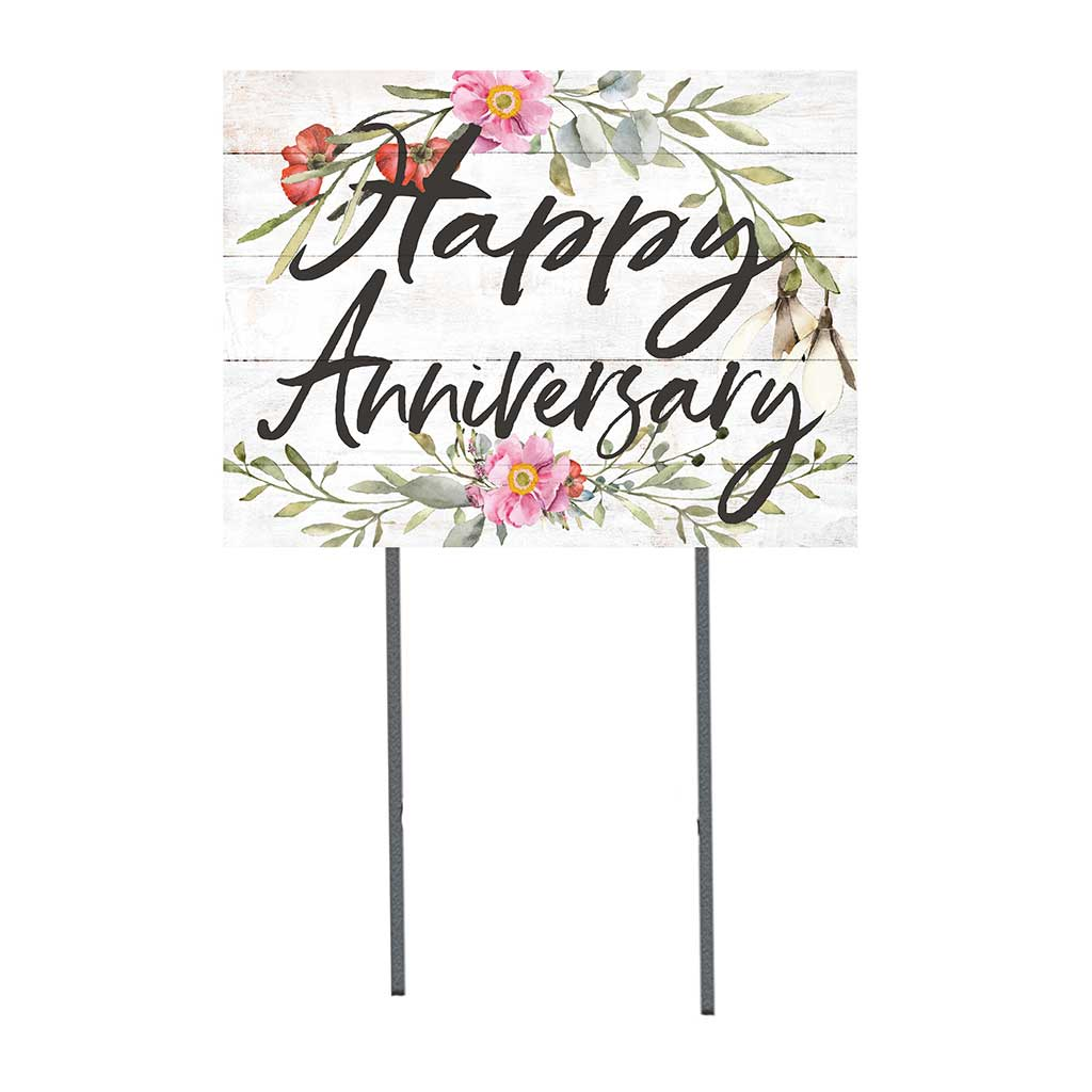 18x24 Happy Anniversary Floral Border Lawn Sign
