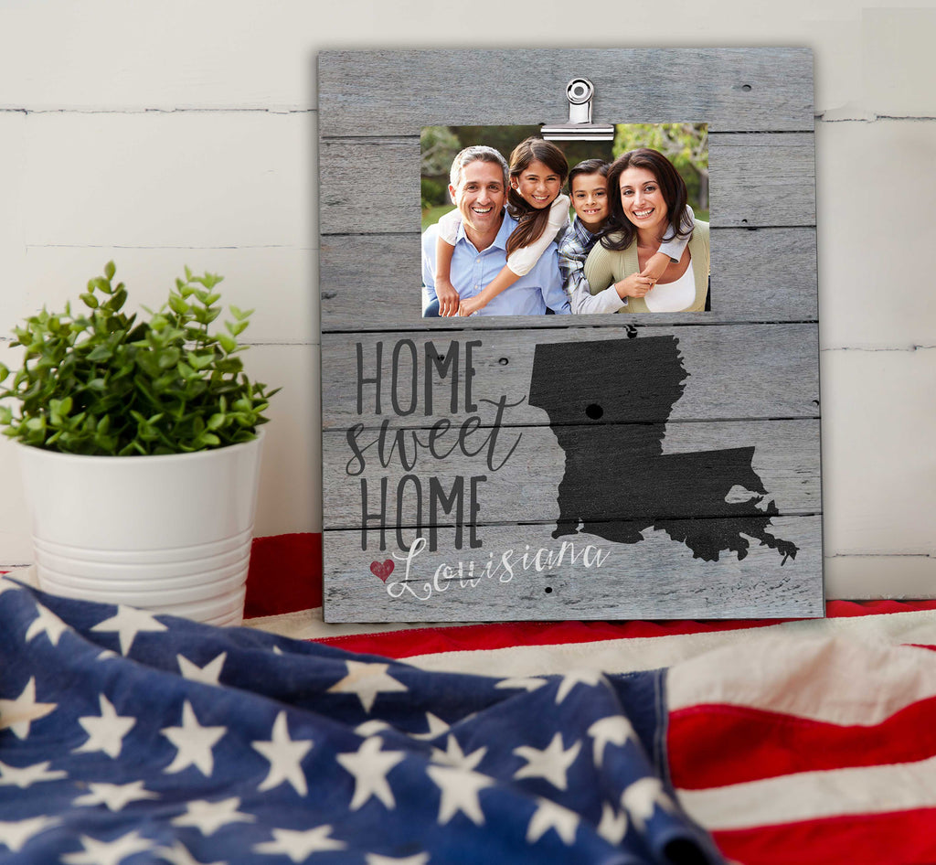 Home Sweet Home Louisiana Weathered Clip Photo Frame