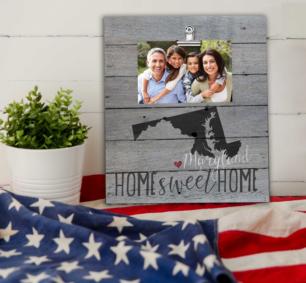 Home Sweet Home Maryland Weathered Clip Photo Frame