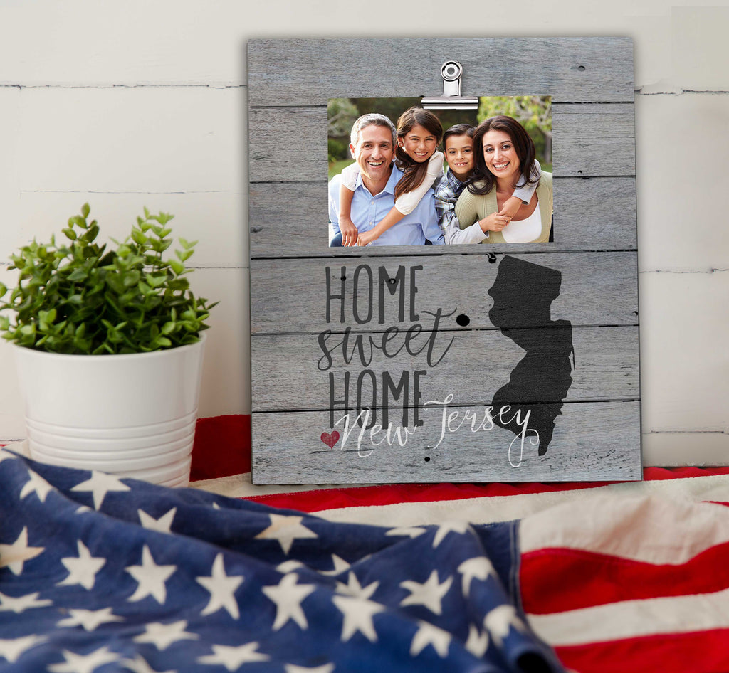 Home Sweet Home New Jersey Weathered Clip Photo Frame