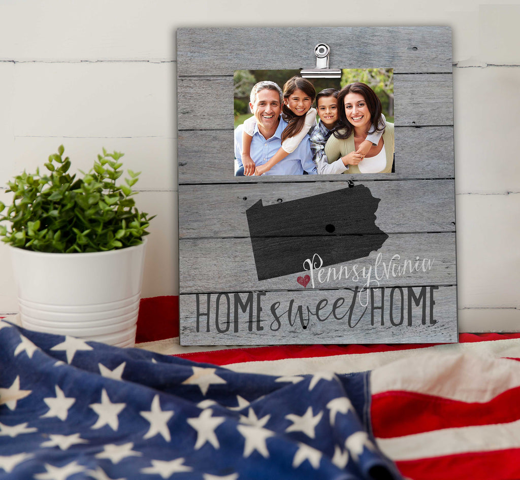 Home Sweet Home Pennsylvania Weathered Clip Photo Frame