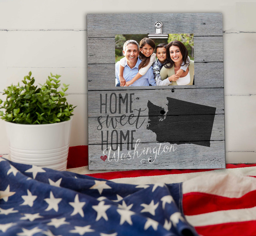 Home Sweet Home Washington Weathered Clip Photo Frame