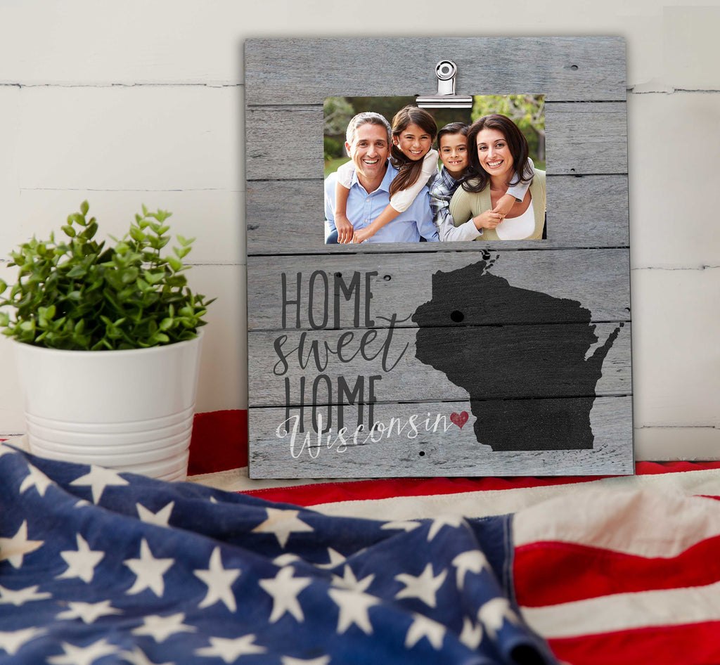 Home Sweet Home Wisconsin Weathered Clip Photo Frame