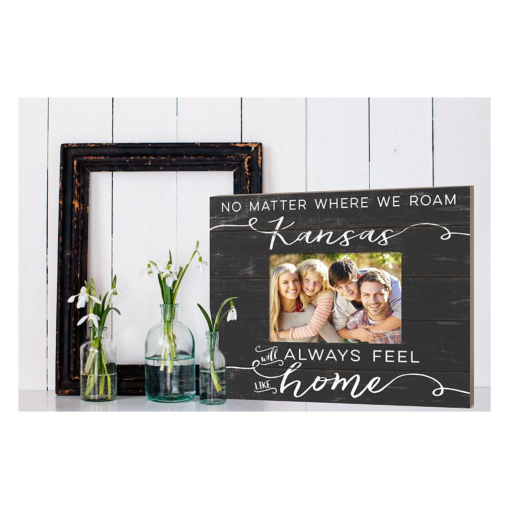 Weathered Charcoal Slat Photo Frame Feels Like Home Kansas