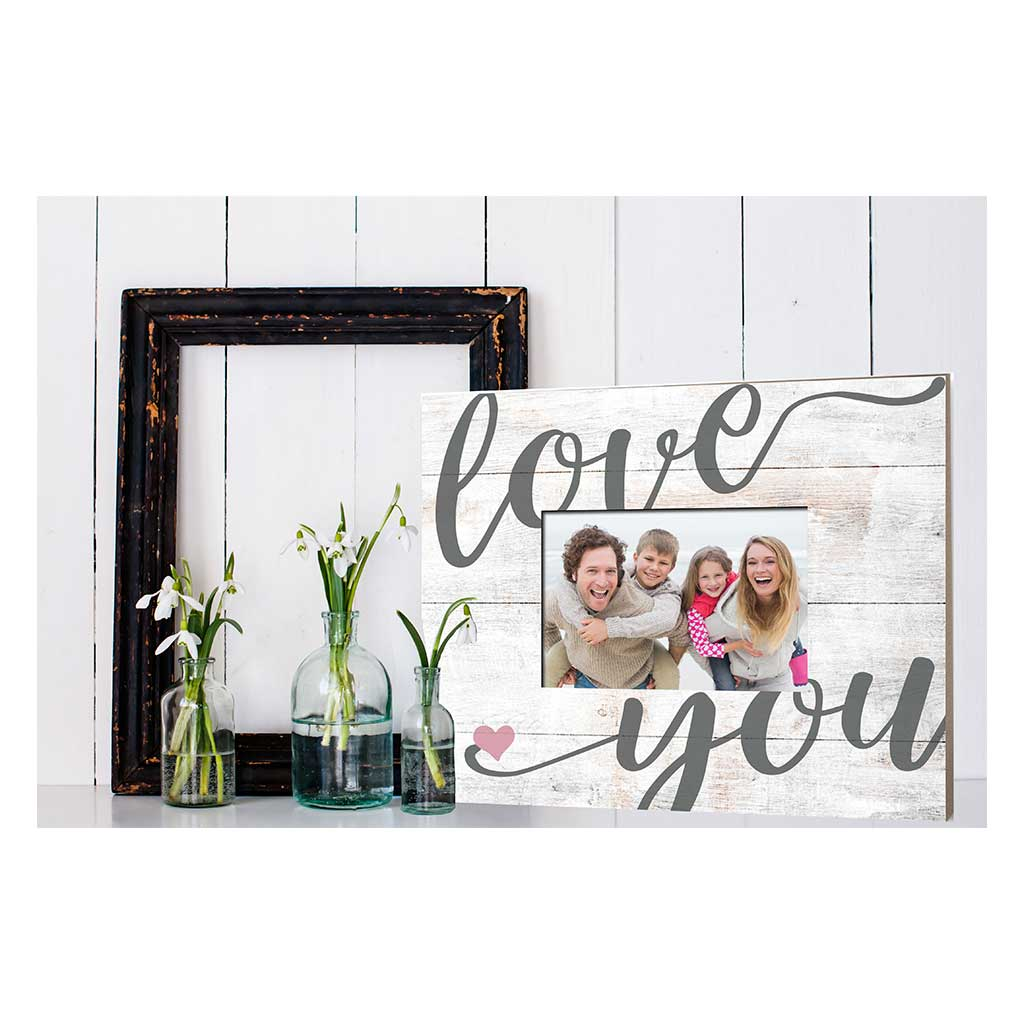 Weathered Whitewash Slat Photo Frame Love You Heart