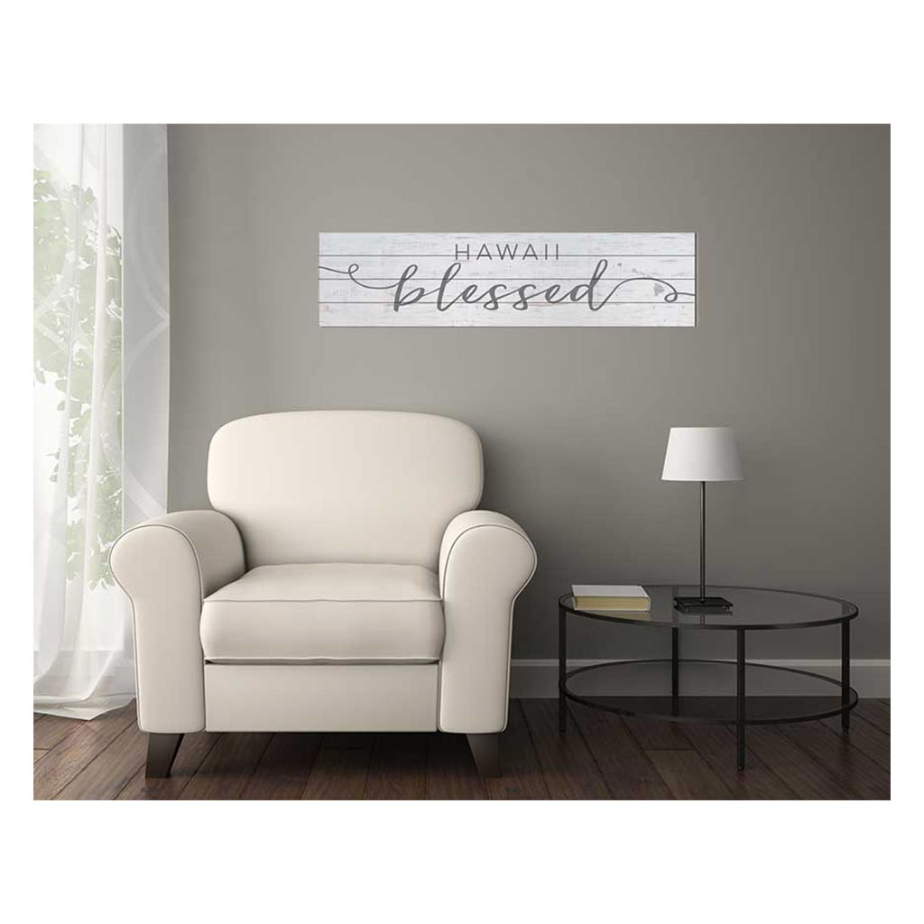 40x10 Whitewash Slat Sign State Blessed Hawaii