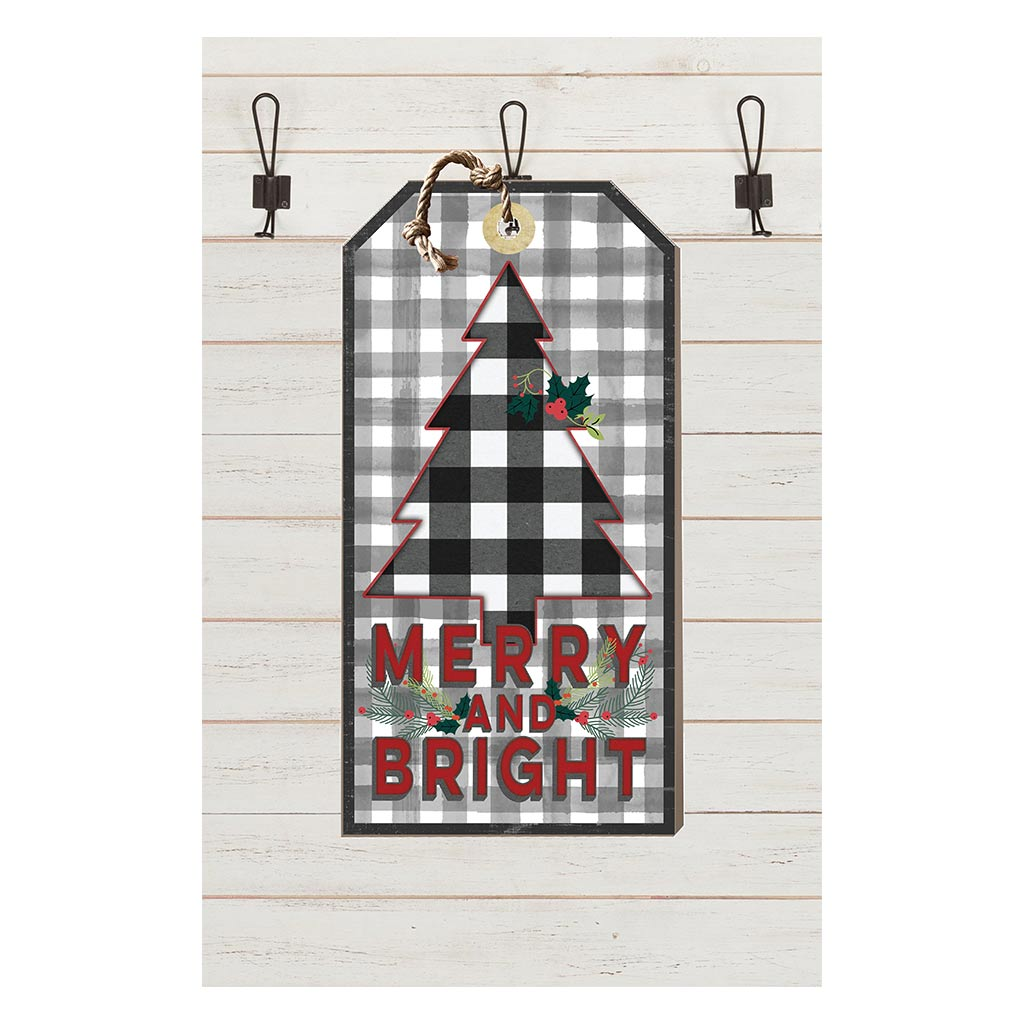 Small Hanging Tag Merry and Bright Black Buffalo Check