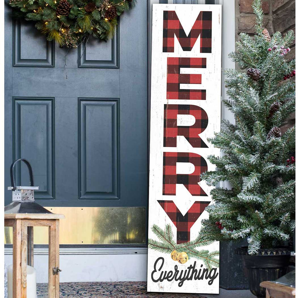 12x48 Merry Everything Red Plaid Leaner Sign