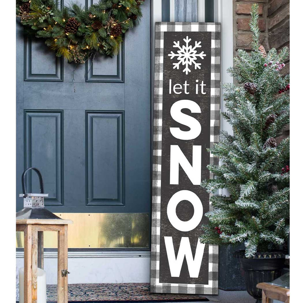 12x48 Let It Snow Buffalo Plaid Snowflake Leaner Sign