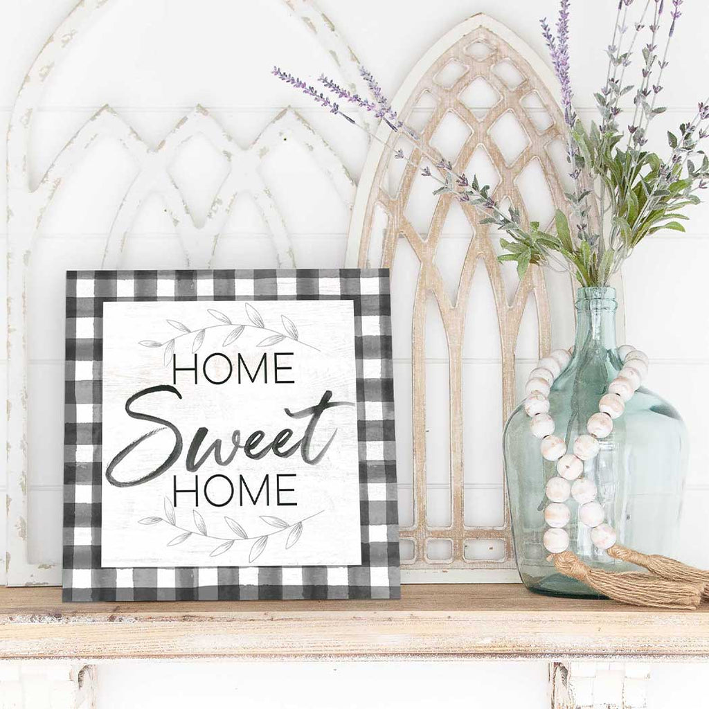 10x10 Home Sweet Home Buffalo Check Sign