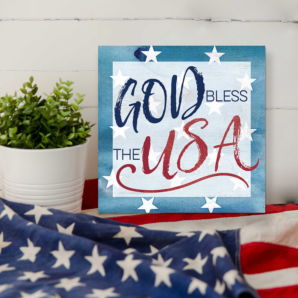 10x10 God Bless America Stars Sign