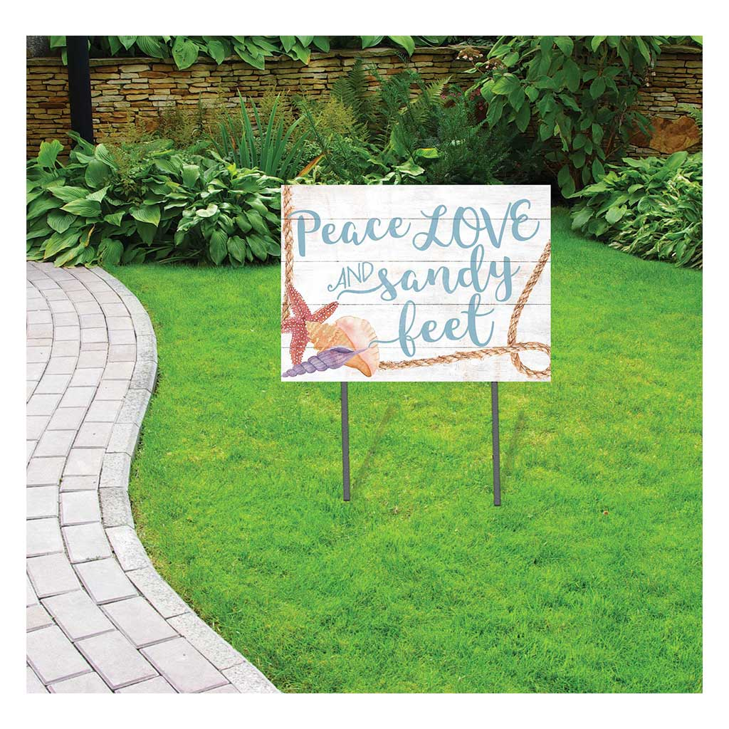 18x24 Peace Love Sandy Feet Seashells Lawn Sign