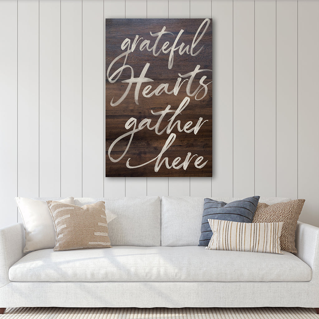 23x34 Grateful Hearts Gather Walnut Sign
