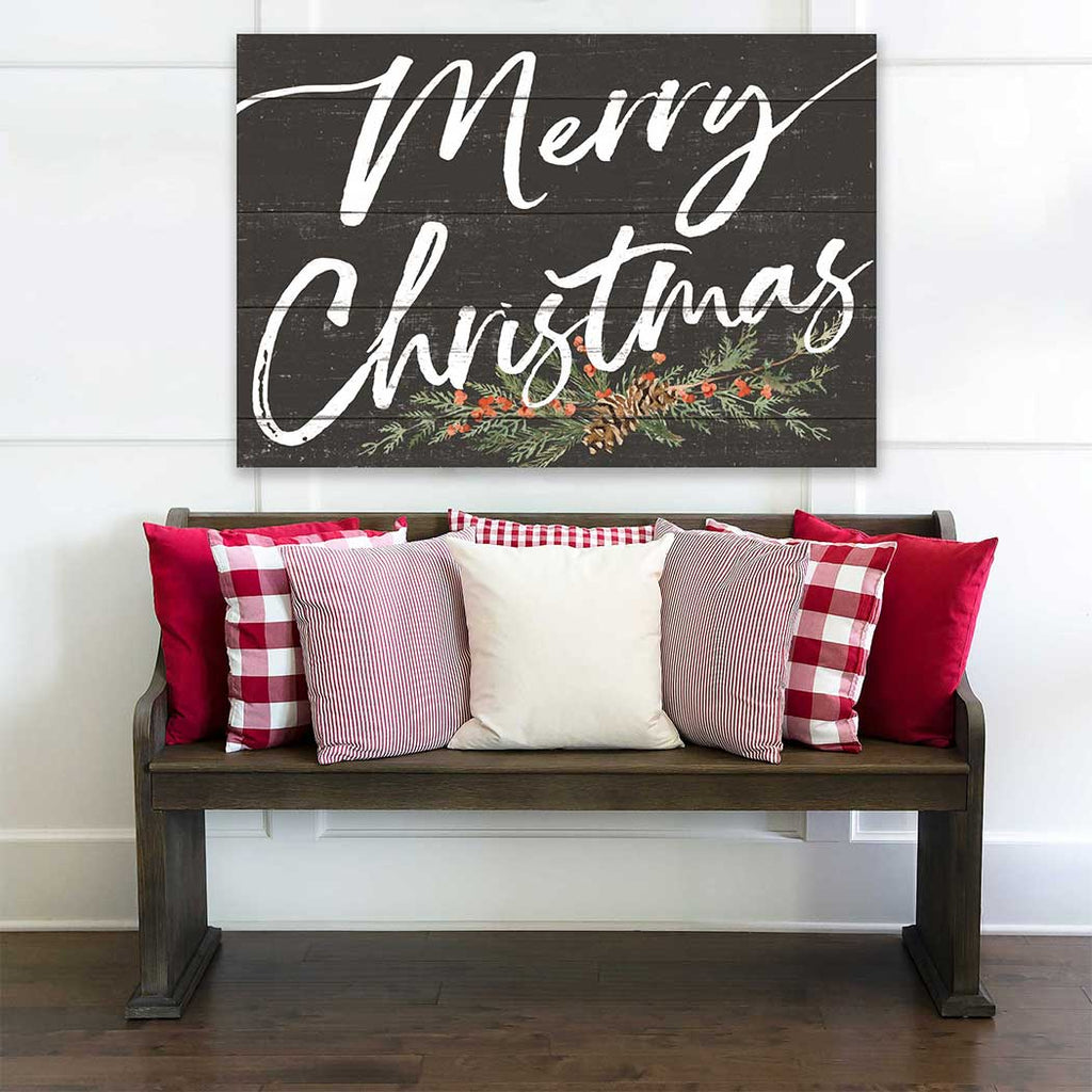 34x23 Merry Christmas Pinecones Weathered Charcoal Sign
