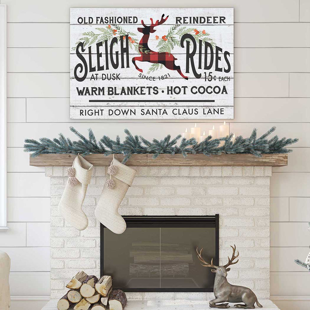 34x23 Reindeer Sleigh Rides Whitewash Sign
