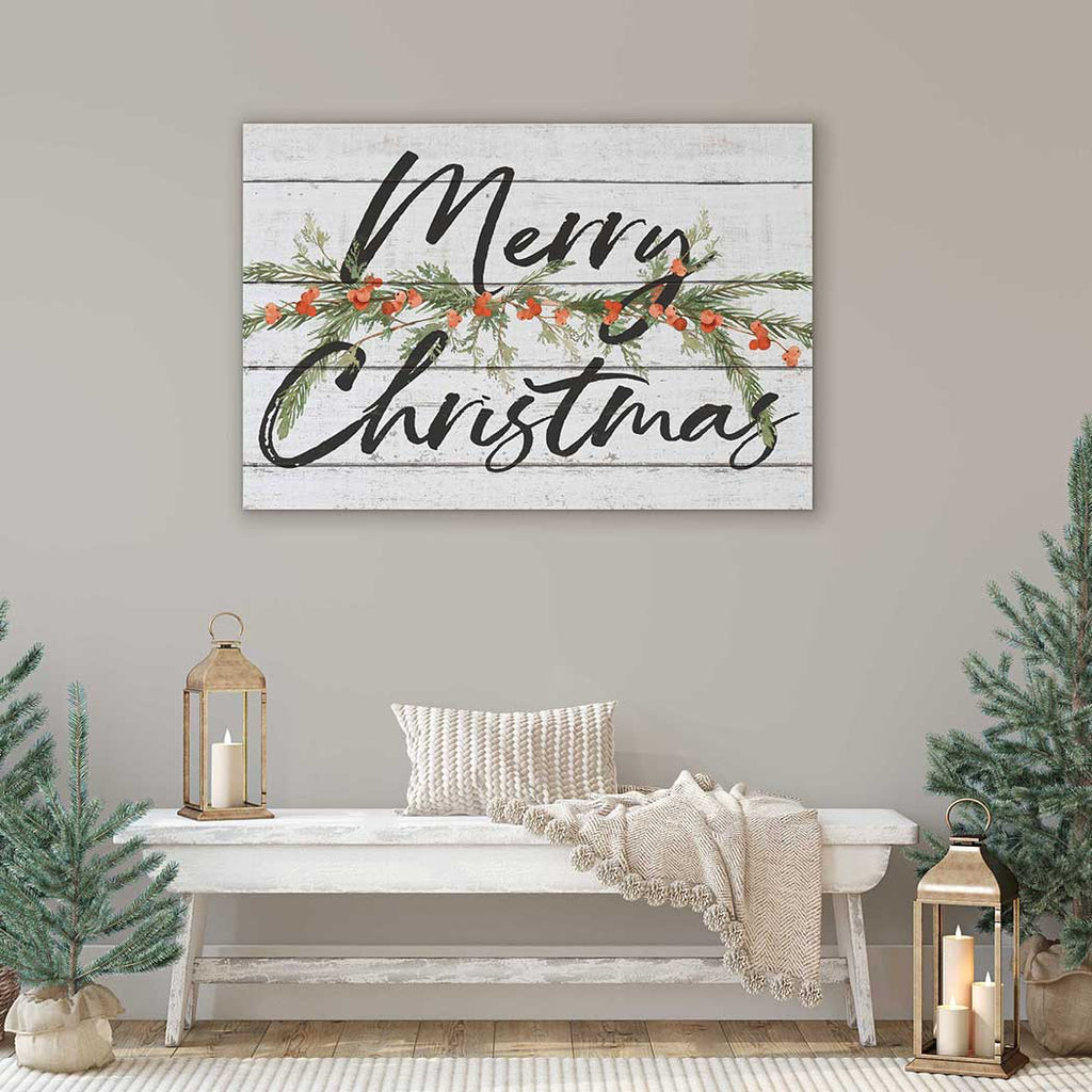 34x23 Merry Christmas Pine and Berry Foliage Whitewash Sign
