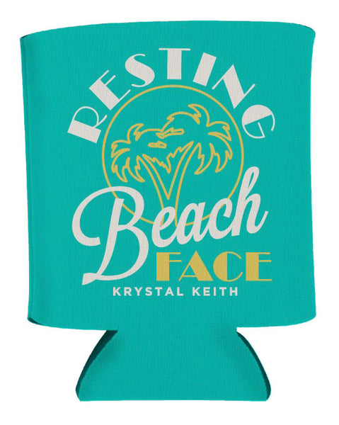 Resting Beach Face Koozie - Teal
