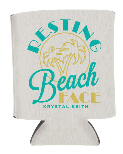 Resting Beach Face Koozie - White