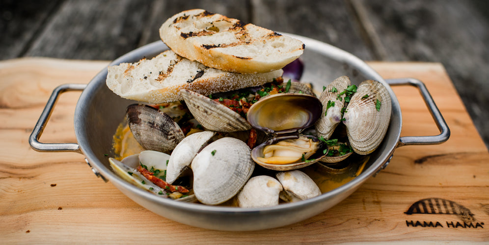steamed clams with chorizo and lager beer, Hama Hama Oyster Saloon