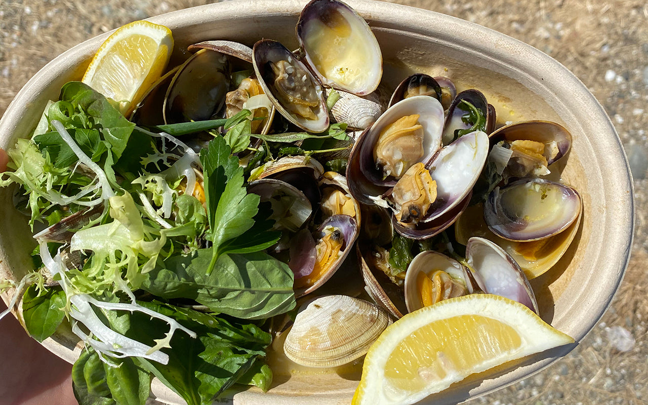 clams steamed in a green curry broth