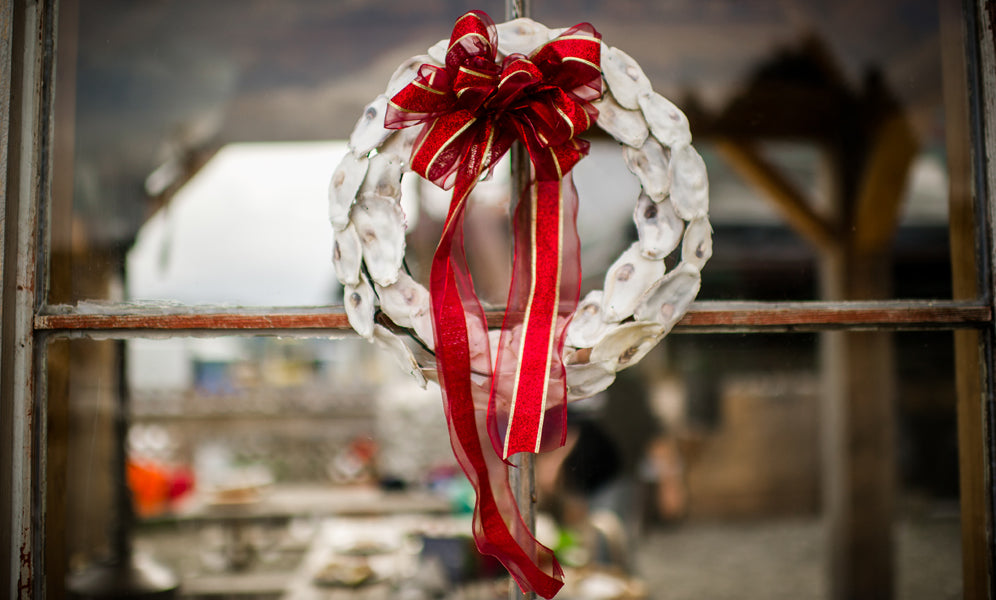 oyster shell wreath at Hama Hama Farm
