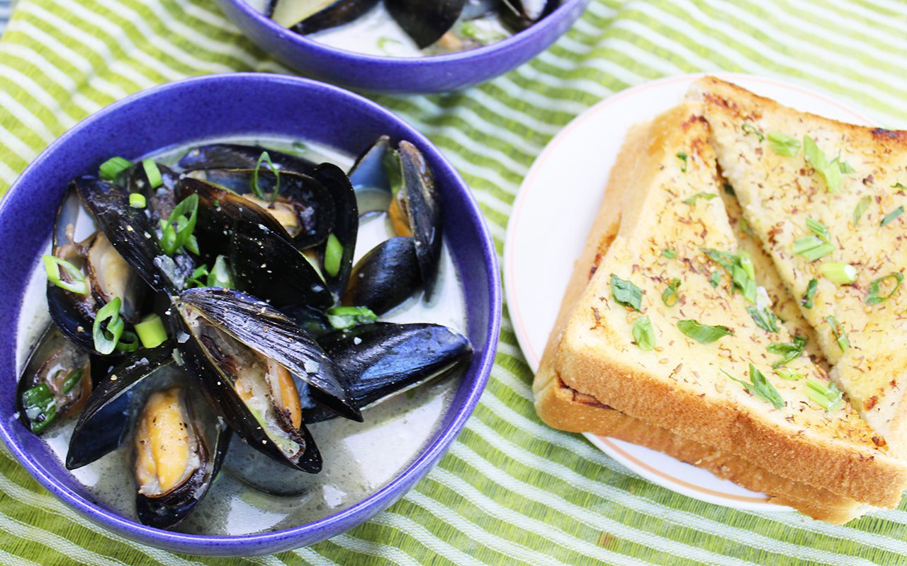 miso steamed mussels served with toast