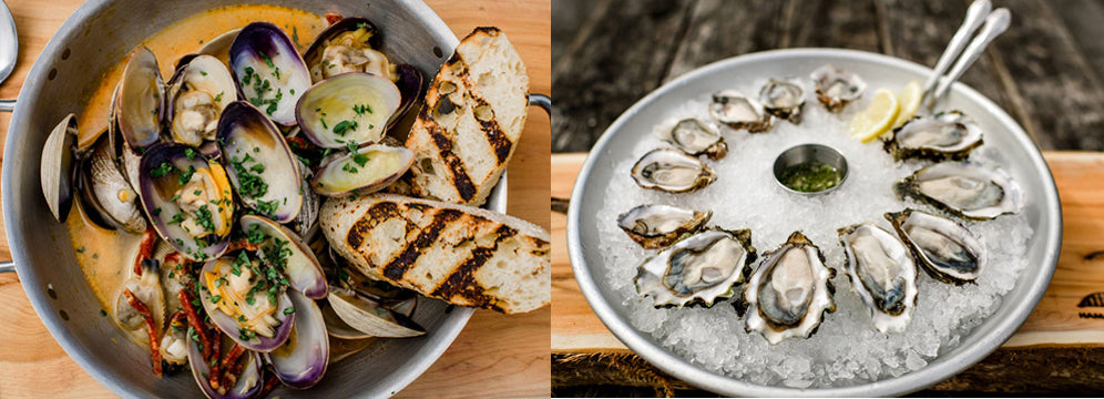 Steamed clams and raw oysters in the Hama Hama Oyster Saloon