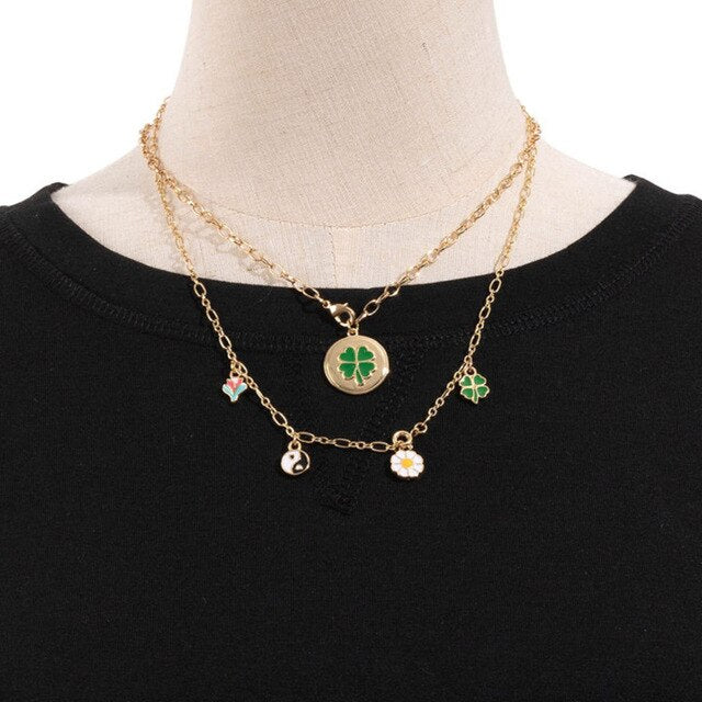 Army Style Green Clover 4 Four Leaf Pendant Necklace