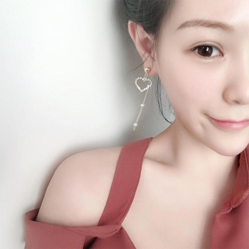 Korean Style Long Tassel Heart Earrings