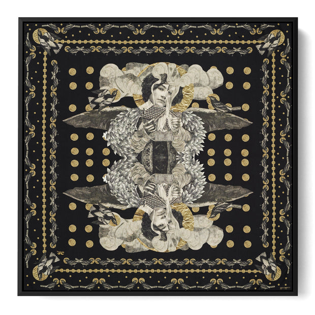 silk-scarf-street-art-paris-artist-madame-moustache-interior-edition-by-mocomoco-berlin-scarf-with-collage-with-heads-of-women-black-gold-sewn-on-canvas-and-framed-in-black-wood-floating-frame