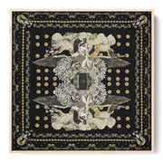 silk-scarf-street-art-paris-artist-madame-moustache-interior-edition-by-mocomoco-berlin-scarf-with-collage-with-heads-of-women-black-gold-sewn-on-canvas-and-framed-in-light-wood-floating-frame
