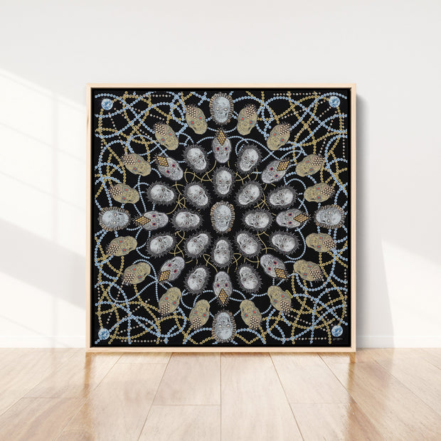 silk-scarf-street-art-london-artist-uberfubs-interior-edition-by-mocomoco-berlin-scarf-sewn-on-canvas-and-framed-in-light-wood-floating-frame-standing-in-empty-living-room