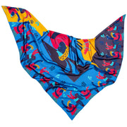 streetart-silk-scarf-barcelona-by-mocomoco-berlin-artist-anais-loison-140x140cm-blue-yellow-lying-folded-in-bird-wing-shape