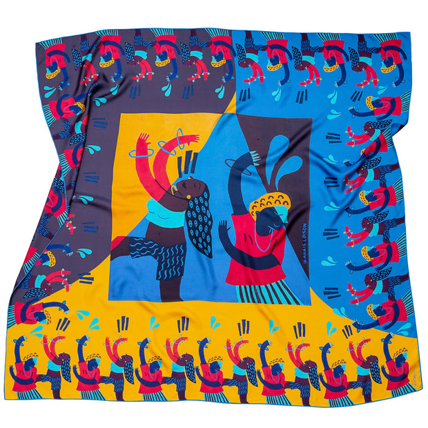 streetart-silk-scarf-barcelona-by-mocomoco-berlin-artist-anais-loison-140x140cm-blue-yellow-lying